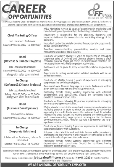 Bachelor Degree Pass job For In Charge Corporate Relations in FF Steel in Lahore for Islamabad candidates -2020