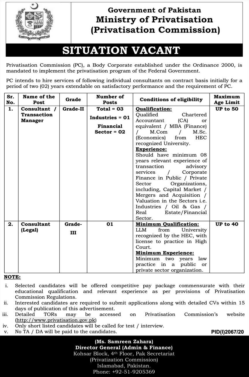 M Com Pass jobs For Consultant Manager in Government of Pakistan Ministry  of Privatisation Commission in Islamabad for Pakistan candidates -2020