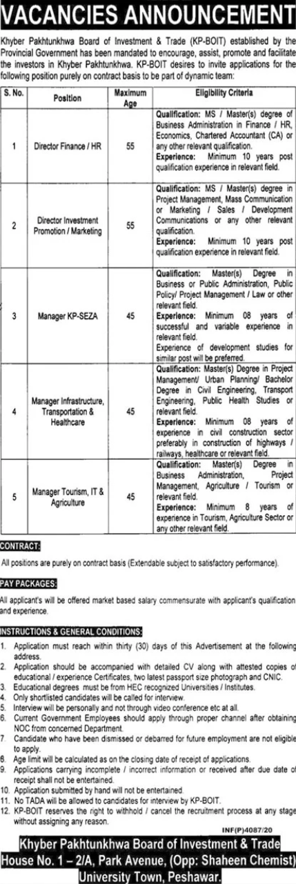 CA Pass job For HR in Khyber Pakhtunkhwa Board of Investment & Trade in Peshawar for Pakistan candidates -2020