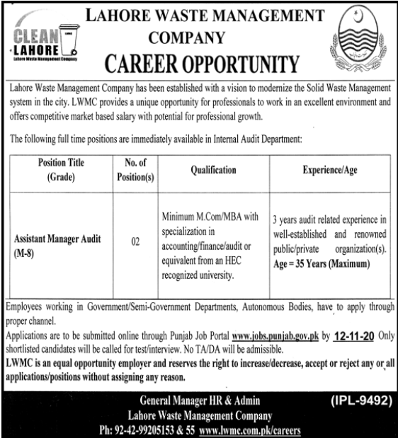 M Com Pass jobs For Assistant Manager Audit in Lahore Waste Management Company in Lahore for Pakistan candidates -2020