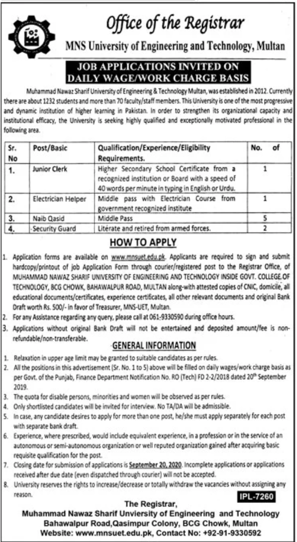 Junior Clerk Job in MNS University of Engineering and Technology in Multan for Pakistan Candidates -2020