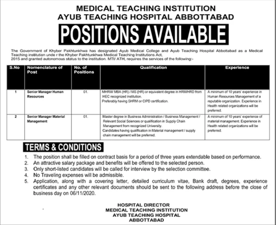 MS Pass job For Senior Manager Human Resources in Medical Teaching Institution Ayub Teaching Hospital Govternment of KPK in Abbottabad for Pakistan candidates -2020