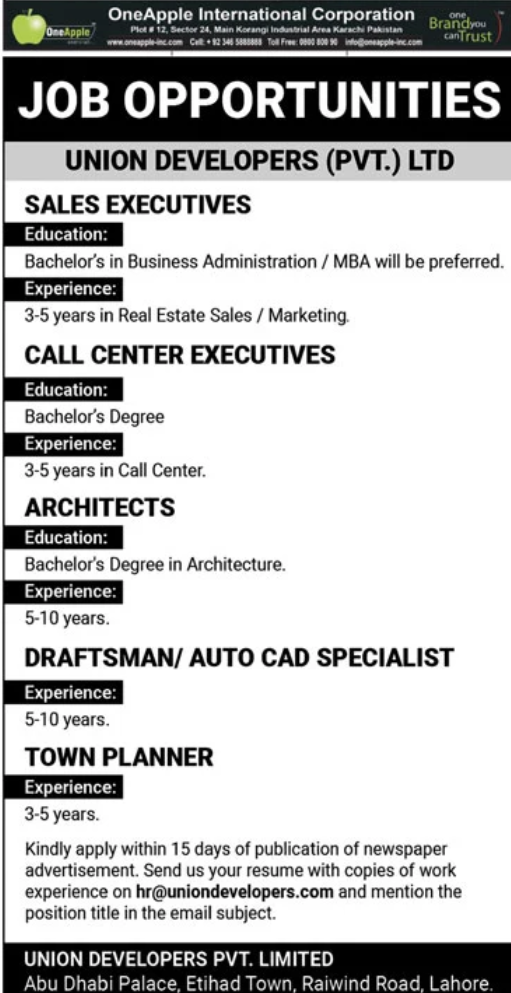 Bachelors Degree Architecture Pass job For Architects in OneApple International Corporation in Lahore for Pakistan candidates -2020