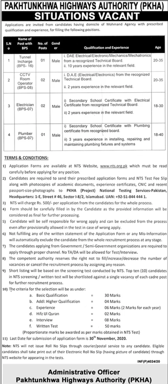DAE Electrical Pass job For Tunnel Incharge in Pakhtunkhwa Highways Authority in Islamabad for Mohmand Agency candidates -2020