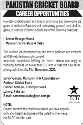 Senior Manager Brand Job in Pakistan Cricket Board in Lahore for Pakistan Candidates -2020