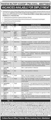 Tennis Sport IC Job in Pakistan Military Academy Kakul in Abbottabad for Punjab Candidates -2020