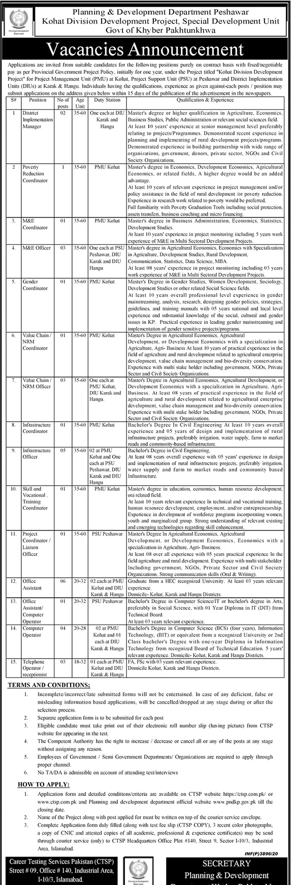 Telephone Operator Job in Planning & Development Department Peshawar Government of KPK in Islamabad for DIU Hangu Candidates -2020