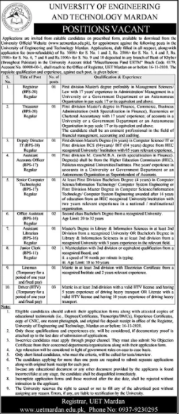 Masters Degree in Law Pass job For Registrar in University of Engineering & Technology in Mardan for Pakistan candidates -2020