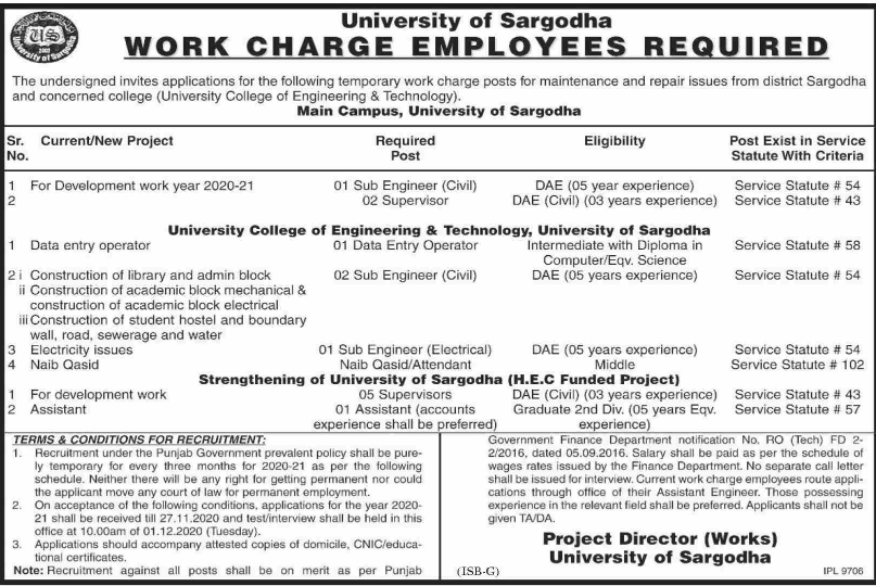 Fsc Pass job For Data Entry Operator in University of Sargodha in Sargodha for Punjab candidates -2020